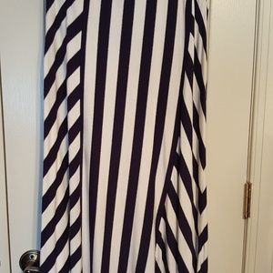 INC Navy/Silver Maxi Skirt - Large - NWOT